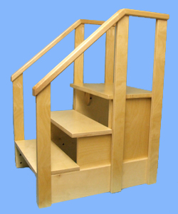 Stair with 3 steps and handrail · Step Stool ...  sc 1 st  Hello Wood Products & Stairs and Step Stools islam-shia.org